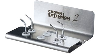 ACTEON CROWN EXTENSION II KIT - CE1 II, CE2 II, CE3 II, BS6 II tips, an autoclavable metal support, an autoclavable universal wrench